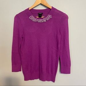 ANN TAYLOR long sleeve sweater with jewel neck